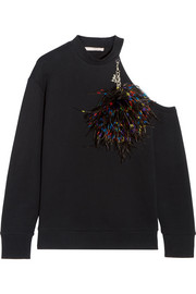 Christopher Kane Embellished cold-shoulder cotton-jersey sweatshirt