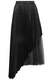 Christopher Kane Asymmetric pleated lamé and tulle midi skirt