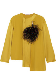 Christopher Kane Feather-embellished crepe and satin top