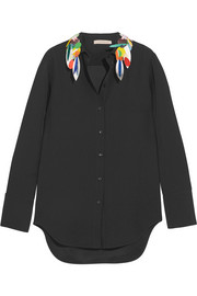 Christopher Kane Embellished crepe de chine shirt