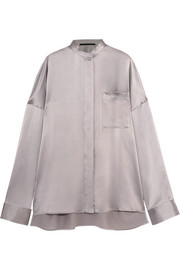 Oversized silk-satin shirt