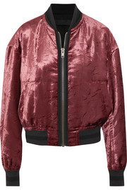 Jersey-trimmed crushed-velvet bomber jacket