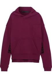Satin-paneled cotton-jersey hooded sweatshirt