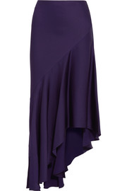 Asymmetric satin midi skirt