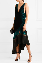 Kuiper embroidered velvet and satin midi dress
