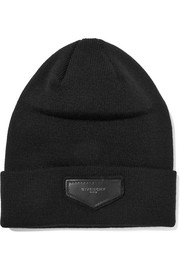 Givenchy Leather-trimmed ribbed-knit beanie