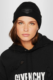 Leather-trimmed ribbed-knit beanie