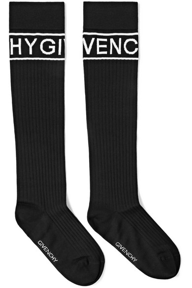 Givenchy - Intarsia Ribbed Wool-blend Socks - Black
