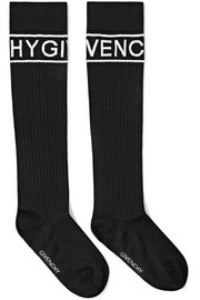 Intarsia ribbed wool-blend socks