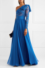 One-shoulder embellished tulle and silk-blend chiffon gown
