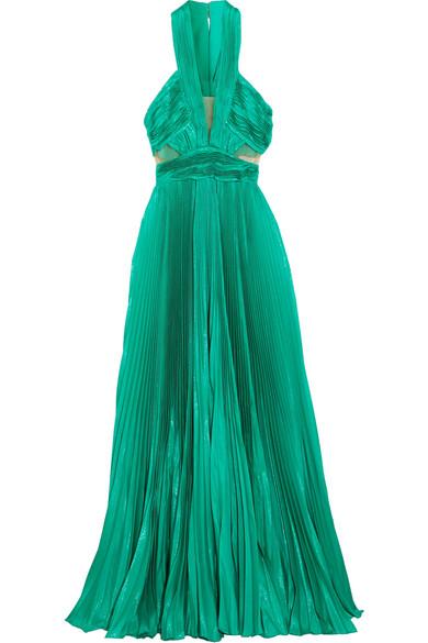 Zuhair Murad - Cutout Plissé Silk-blend Lamé Gown - Jade