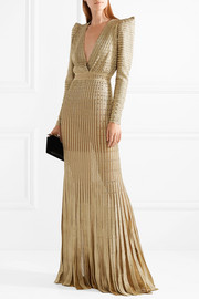 Embellished metallic ribbed-knit gown