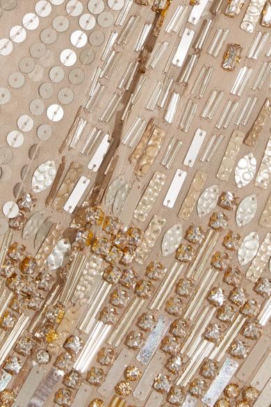 Jenny Packham Verzierte Seidenrobe mit Tülleinsätzen