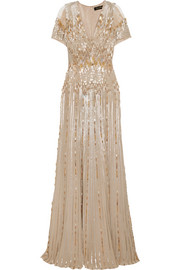 Tulle-paneled embellished silk gown