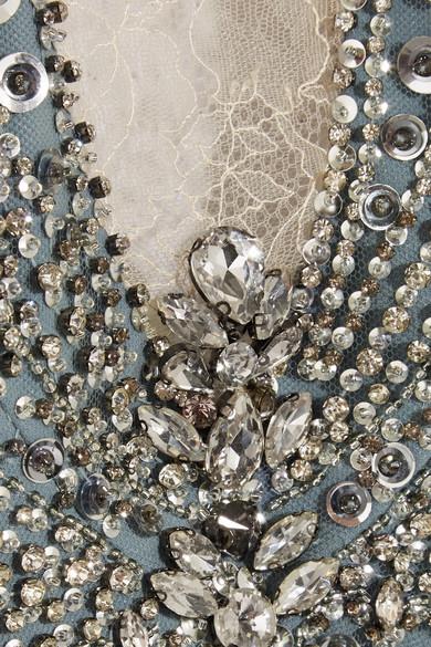 Jenny Packham Verzierte Robe aus Crêpe, Tüll und Spitze