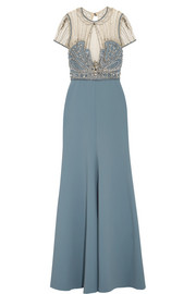 Jenny Packham Embellished crepe, tulle and lace gown