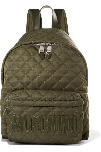 Moschino - Patent Leather-trimmed Quilted Shell Backpack - Army green