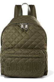 Patent leather-trimmed quilted shell backpack