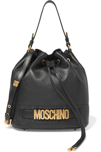 Moschino - Textured-leather Bucket Bag - Black