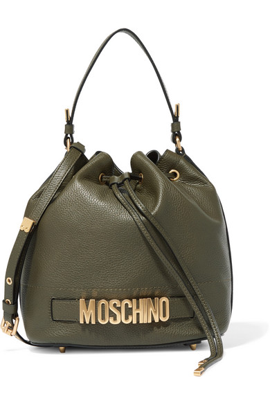 Moschino - Textured-leather Bucket Bag - Army green
