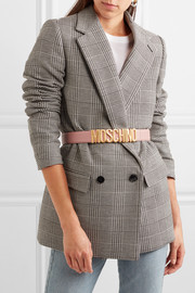 Moschino Embellished textured-leather belt
