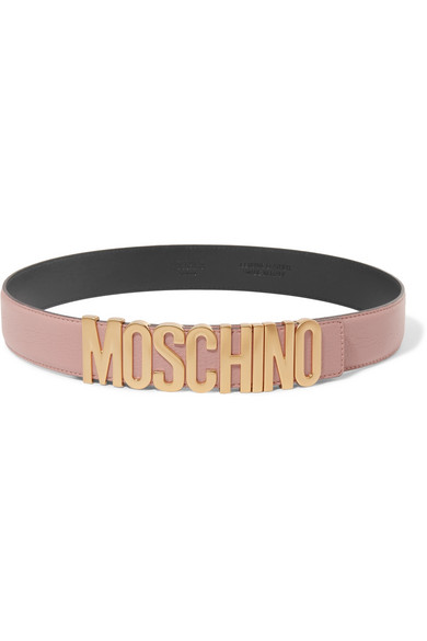 Moschino - Embellished Textured-leather Belt - Baby pink