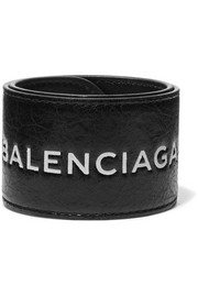 Cycle textured-leather bracelet