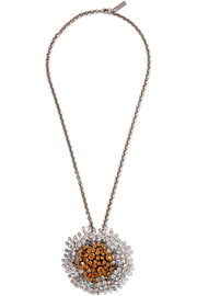 Balenciaga Convertible palladium-tone crystal necklace