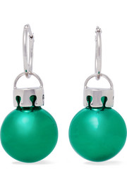 Balenciaga December Ball silver-tone and resin earrings