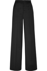 Faux pearl-embellished twill wide-leg pants
