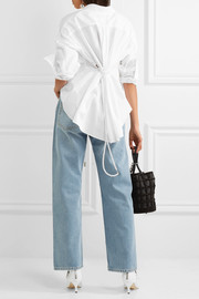 Faux pearl-embellished cotton-poplin shirt