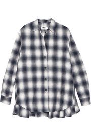 Oversized plaid brushed-cotton shirt