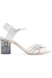 Nicholas Kirkwood Zaha metallic leather and mesh sandals