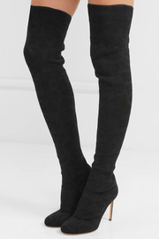 Stretch-mesh over-the-knee boots