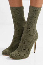 Leather-trimmed open-knit boots