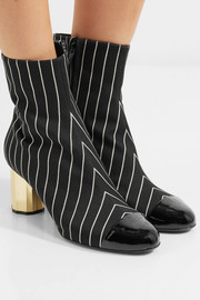 Patent leather-trimmed pinstriped wool ankle boots