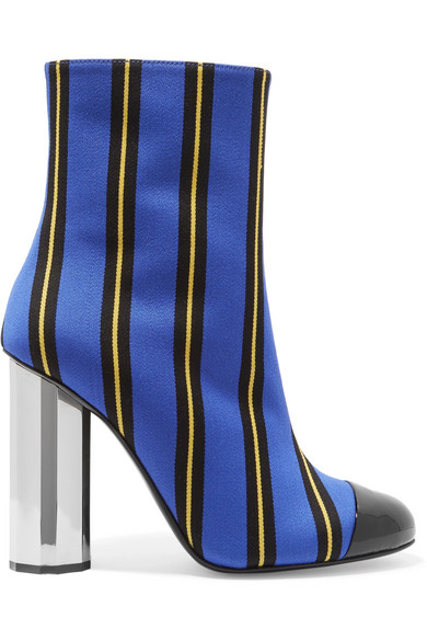 PATENT LEATHER-TRIMMED STRIPED CANVAS ANKLE BOOTS