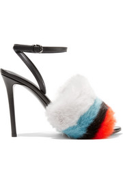 Leather and striped faux fur sandals