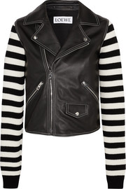 Leather and striped cotton-blend biker jacket