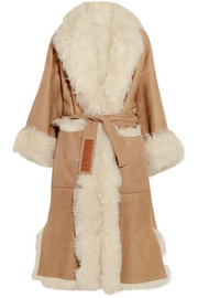 Loewe Reversible belted shearling and suede coat
