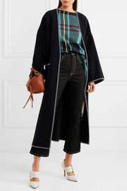 Oversized whipstitched wool and cashmere-blend coat