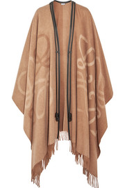 Reversible leather-trimmed wool and cashmere-blend cape