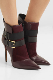 Balmain Anais buckled leather and suede ankle boots
