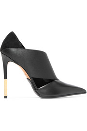 Audrey paneled leather, elastic and suede pumps
