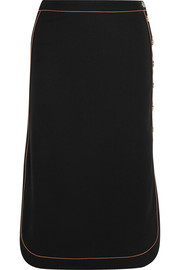 Contrast-piped stretch-wool crepe skirt