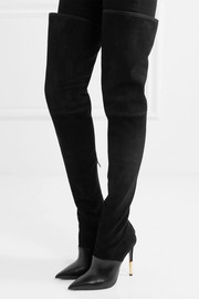 Amazone suede and leather over-the-knee boots
