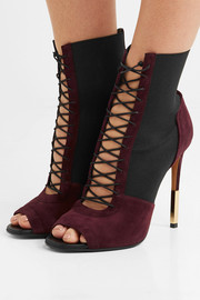 Balmain Ariane lace-up suede and elastic sandals