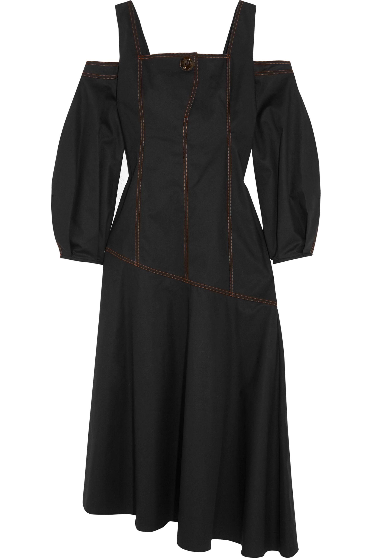 Ellery Mississippi cold-shoulder cotton-blend twill midi dress