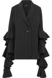 Ellery Perfect Pitch ruffled pinstriped crepe blazer