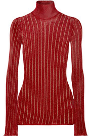 Urchin striped metallic ribbed-knit turtleneck sweater
